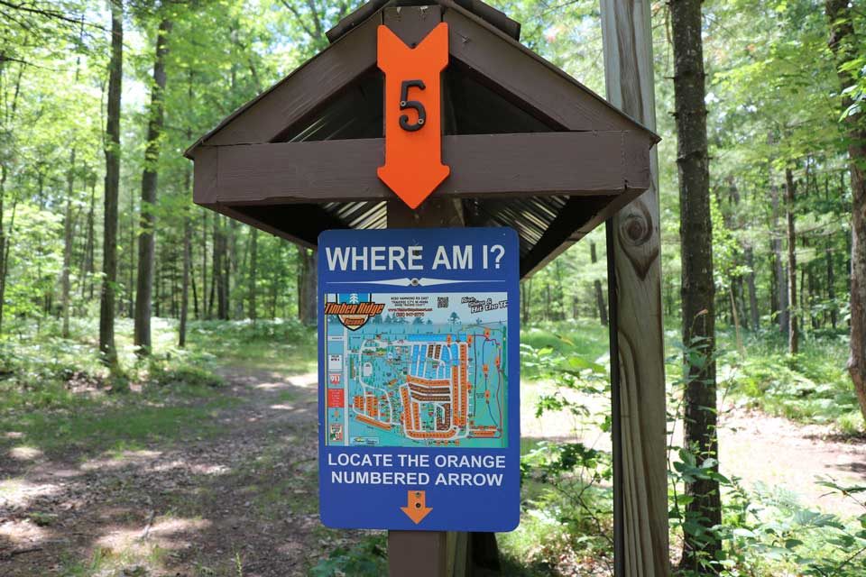 Timber Ridge Resort Miles of Wooded Trails Signage